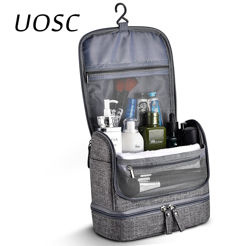 UOSC Waterproof Men Hanging Makeup Bag Oxford Travel Organizer Cosmetic Bag For Women Necessaries Make Up Case Wash Toiletry Bag