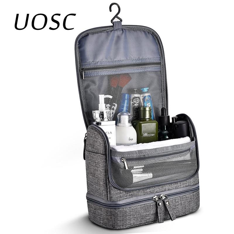 UOSC Waterproof Men Hanging Makeup Bag Oxford Travel Organizer Cosmetic Bag For Women Necessaries Make Up Case Wash Toiletry Bag