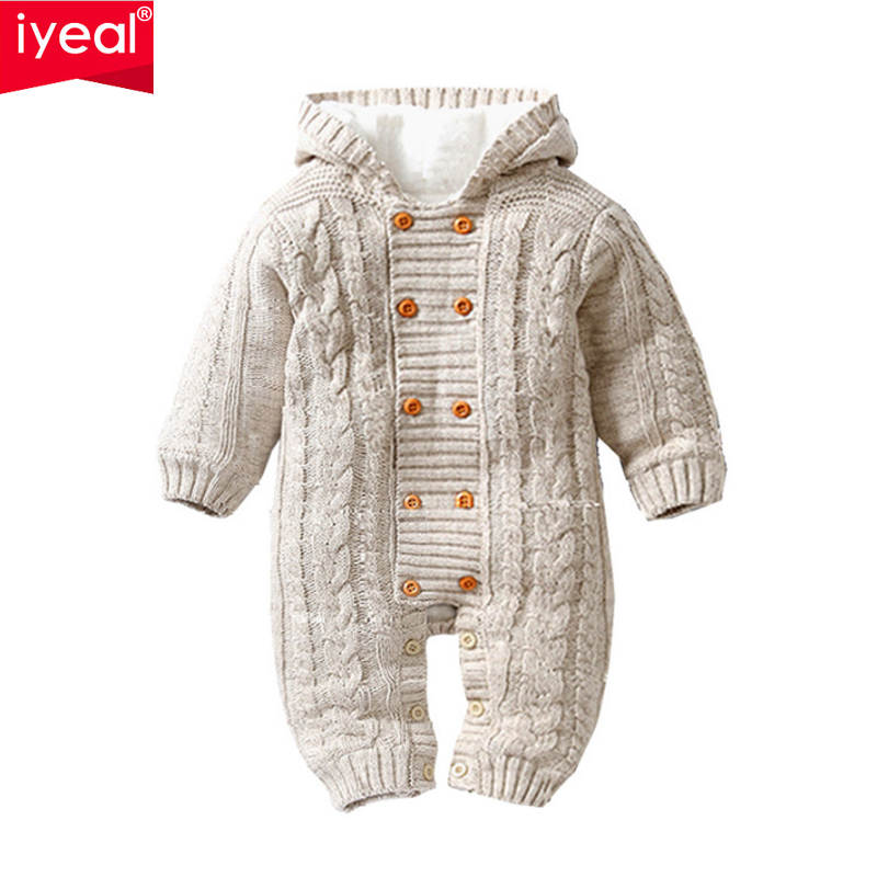 US Newborn Baby Boy Girl Winter Warm Romper Hooded Sweater Knit Jumpsuit Clothes