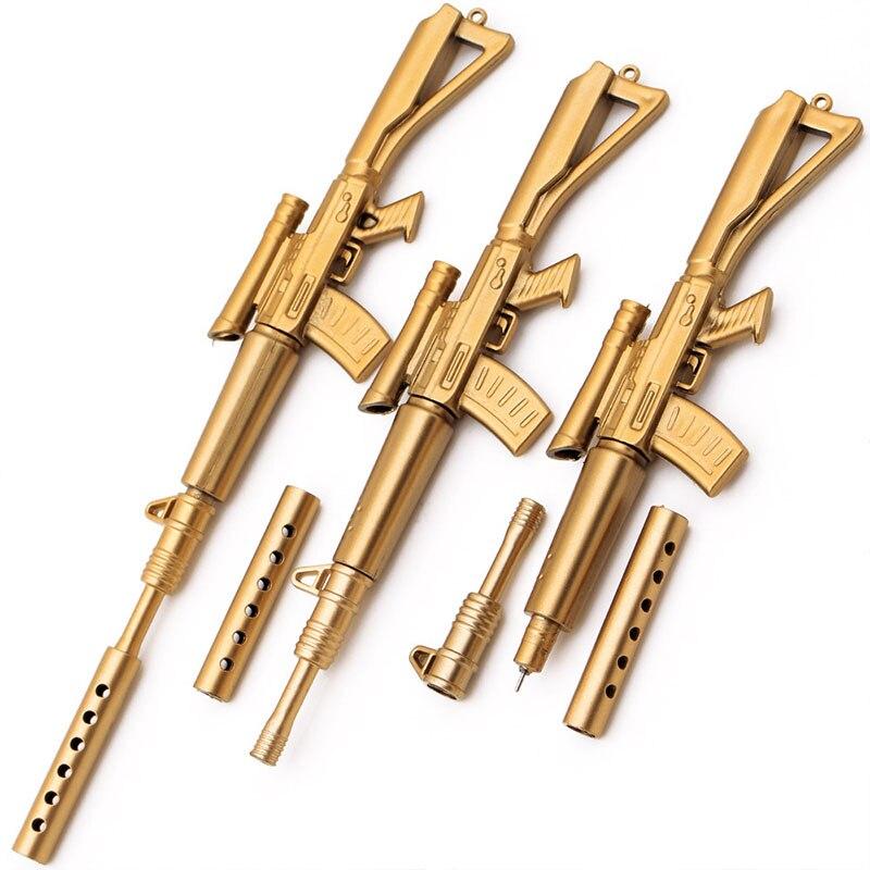 2 Pcs/lot Creative Gold Gun Gel Pen Plastic Boeing Rifle Neutral Pen Weapon Pen For Boys Toy Pen School Supply Korean Stationery