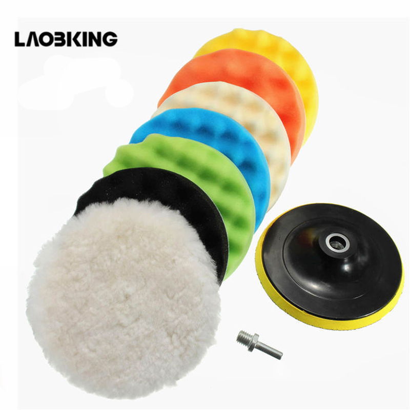 9Pcs/Set 4 Inch 100mm Buffing Pad Polishing Pad Kit For Car Polisher Psds M10 Thread Abrasive Tools  Wheel Polishing Disk