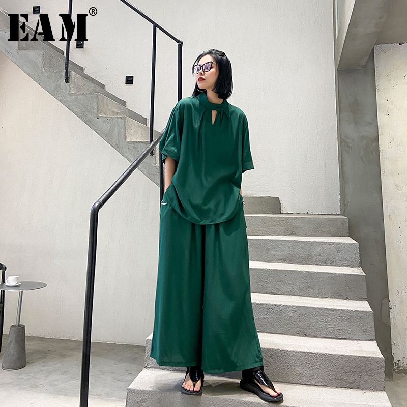 [EAM] Wide Leg Pants Two Piece Suit New Stand Collar Half Sleeve Black Loose Fit Women Fashion Tide Spring Summer 2020 1T846