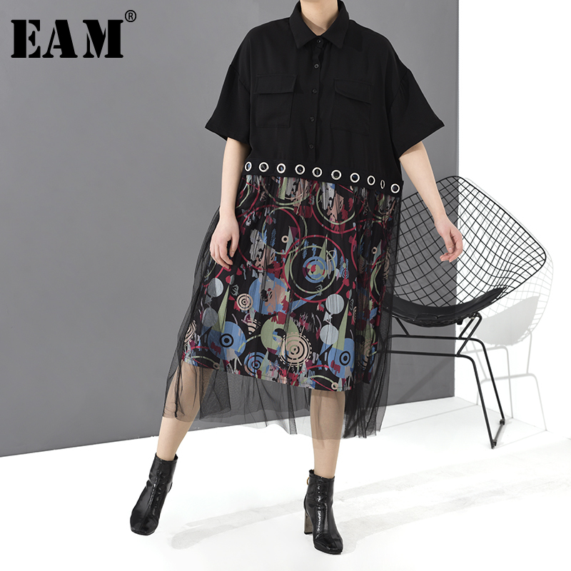 [EAM] Women Black Mesh Split Printted Big Size Shirt Dress New Lapel Half Sleeve Loose Fit Fashion Tide Spring Summer 2020 1T484