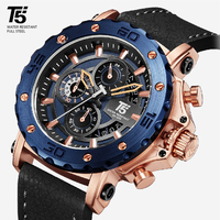 Leather Strap Rose gold Black Luxury brand T5 Quartz Chronograph Waterproof Mens Watch Sport Watches Wristwatches Men