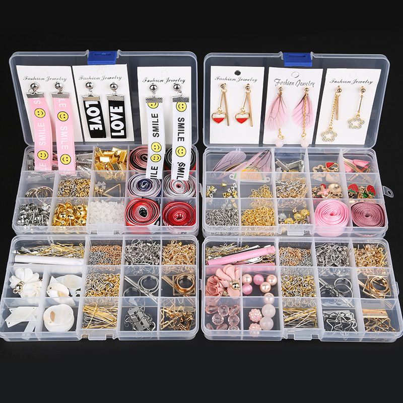 Mixed Style DIY Earring Findings Material Beads Cup Earring Hook Jump Ring Hook Pin Tassel Box Sets For Jewelry Making Findings