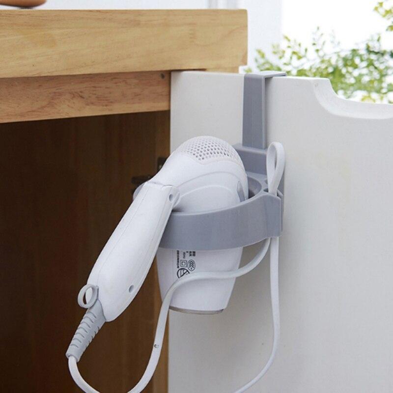 Фен стеллаж для хранения шкафчик с дверцей, держатель для волос, настенный держатель для ванной комнаты, полка для хранения X - 3