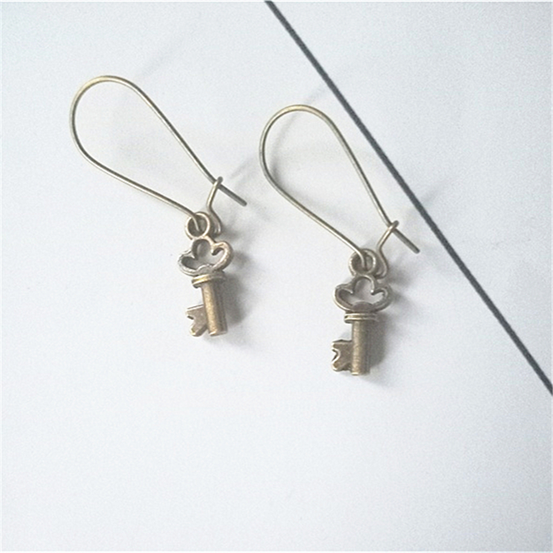 Small Bronze Color Key Charms on Kidney Wire Hooks Earrings, Tiny Key Earrings, Vintage Style Earrings for Woman(China)