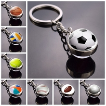 Fashion Glass Ball Keychain Football Basketball Baseball Volleyball Tennis Rugby Softball Picture Pendant Metal Keyring