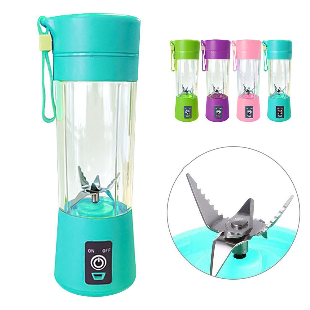 400ml Portable 6 Blades Blender USB Rechargeable Fruit Juice Cup Bottle Mixer Portable Blender Mixer Water Bottle Juicing Cup