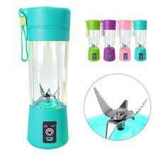 Licuadora portátil de 6 cuchillas de 400ml, recargable por USB, para zumo de fruta, botella, mezclador, licuadora portátil, botella de agua, taza de jugo
