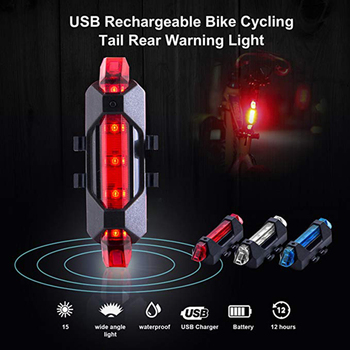 Bike Bicycle light LED Taillight Rear Tail Safety Warning Cycling Portable Light, USB Style Rechargeable or Battery Style image