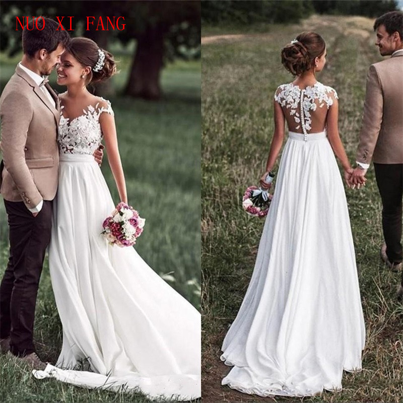 Beach Lace Appliques Bride Dress New Cap-Sleeves Slit Side Buttons White/Ivory Wedding Dresses 2020 Vestidos De Noivas Plus Size