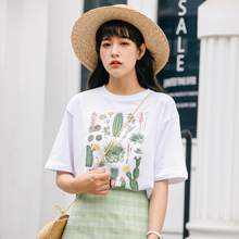 Cotton Cactus Flower plant letter women print graphic korean harajuku top White cartoon basic New Fashion tee 2019 funny t shirt