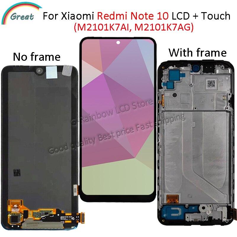 ЖК-дисплей 6,43 ''Super AMOLED для Xiaomi Redmi Note 10 с сенсорным экраном и дигитайзером для redmi note 10 M2101K7AI M2101K7AG lcd