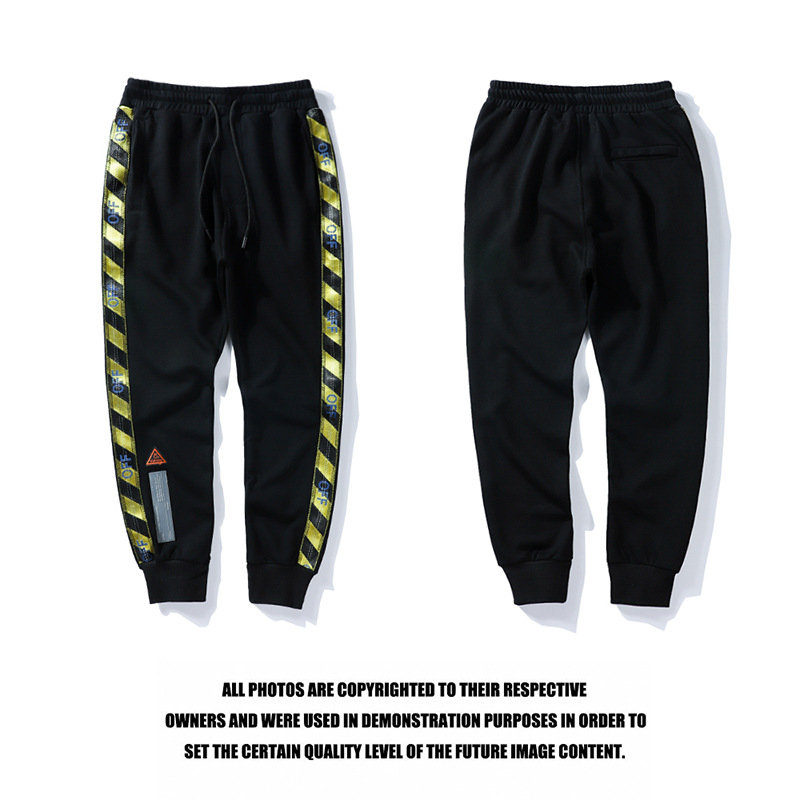 Summer Street Hip Hop Couples Off Prohibited Inside 18ss Yellow Webbing Sweatpants New Style Beam Leg Trousers Ow Men's