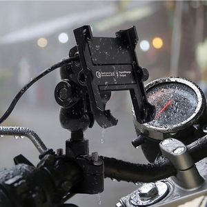 Image 4 - Waterproof Metal Motorcycle Smart Phone Mount with QC 3.0 USB Quick Charger Motorbike Mirror Handlebar Stand Holder