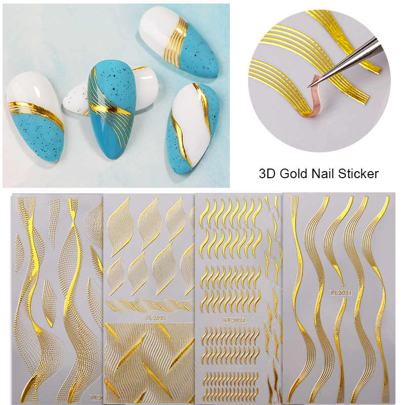 3D Nail Stickers Adhesive Transfer Sticker Decals Gilded Leaves Flowers Geometric Image Nail Art Decorations Accessories 1Pc