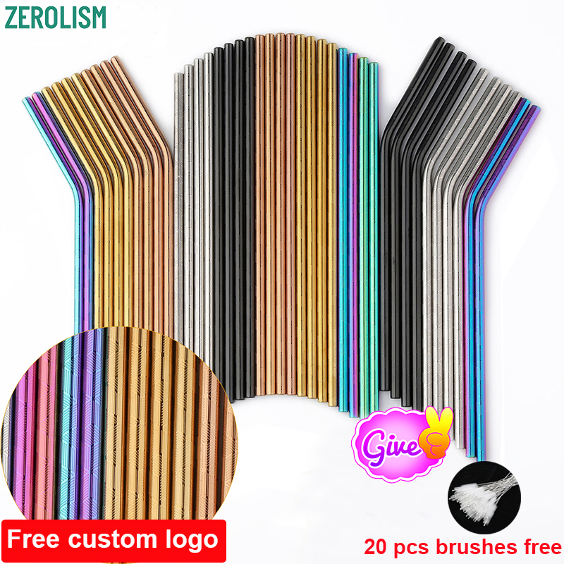 100 Pcs Patterned Wholesale Metal Straws Colorful Reusable Stainless Steel Drinking Tubes E-co Friendly Portable Straws