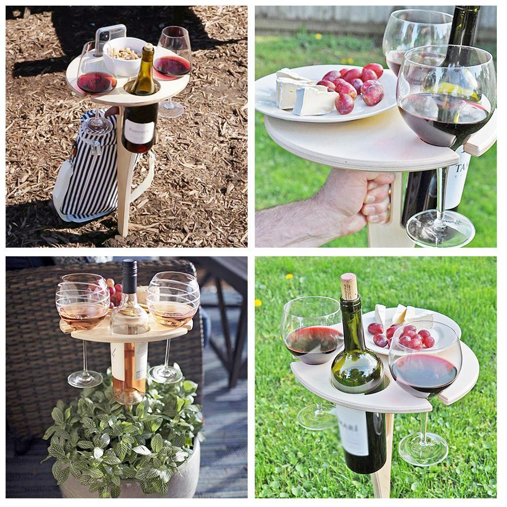 Outdoor Folding Wine Table Wine Glass Portable Wooden Picnic Collapsible To Foldable Rack Round Mini Easy Carry Desktop J6S9