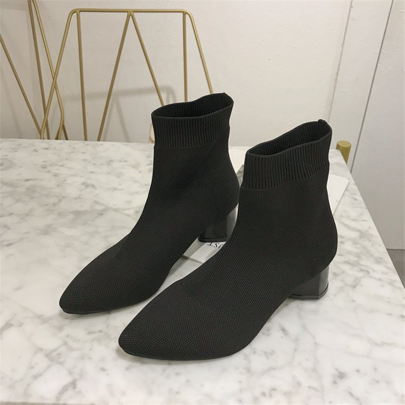 Stretch Knitting Women Sock Boots Heel Ankle For Pointed Toe Slip On Short fashion ankle sock boots shoe