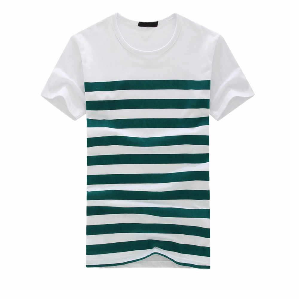 T gömlek erkekler moda rahat şerit baskılı yumuşak rahat kısa kollu kazak üst bluz Tee camiseta masculina erkek tişörtü