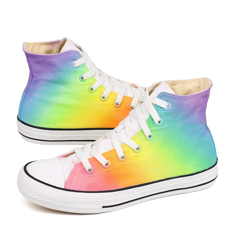 E-LOV Shoes Women Sneakers Vulcanizes-Shoes Rainbow Canvas Lace-Up Spring Zapatillas