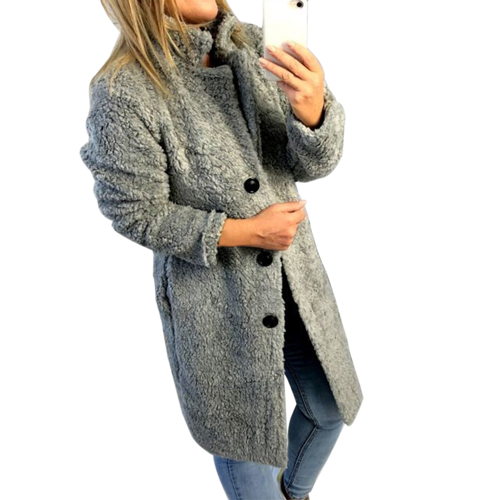 HEFLASHOR Women's Plush coat autumn winter Women Button Jacket Casual Warm turndown collar fur Outwear Mid-Length Woolen jackets 7
