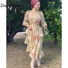 Ziwwshaoyu Charming Flower Print Organza Party Dress Womens  Lantern Sleeve Asymmetrical Ruffles Autumn Runway Girdle Dresses