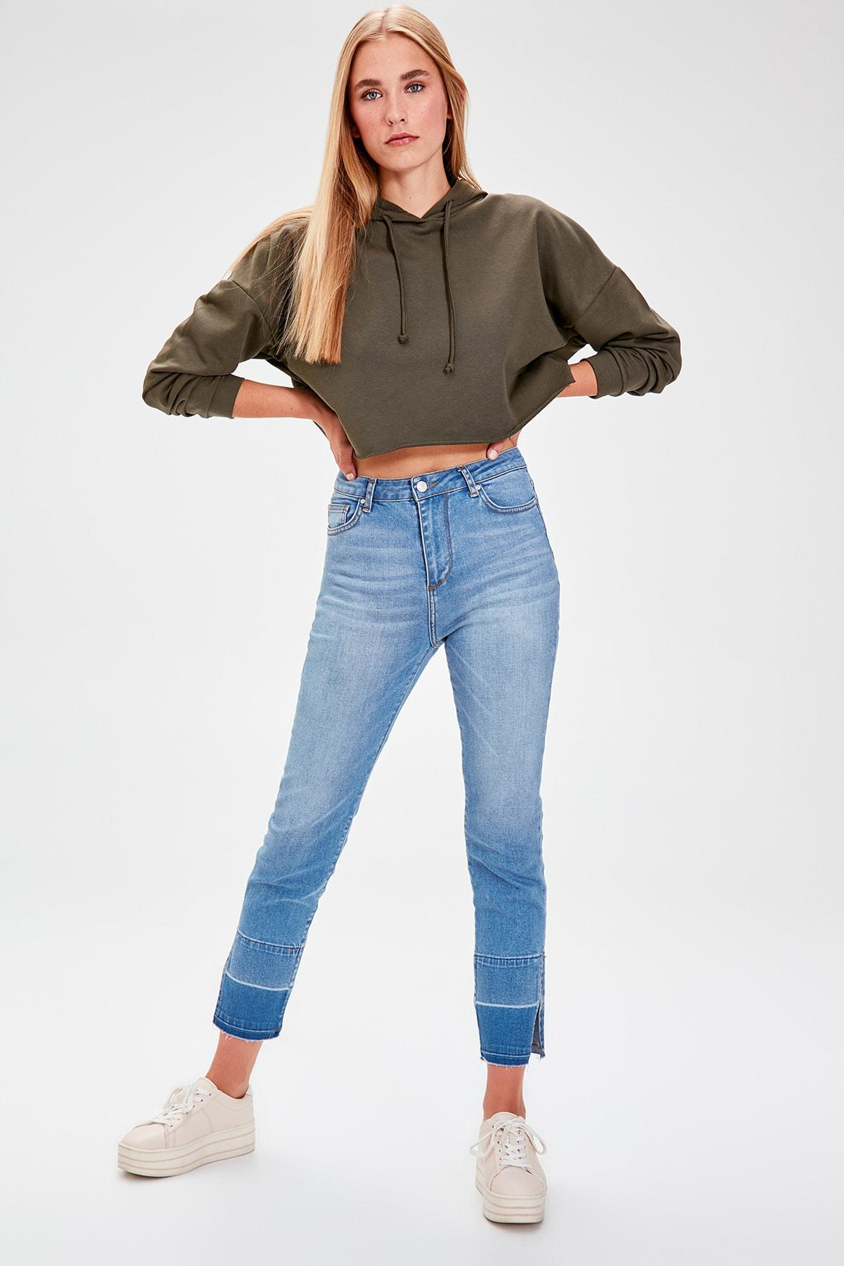 Trendyol Mavi Trotting Detailed High Waist Slim Fit Jeans TWOAW20JE0068