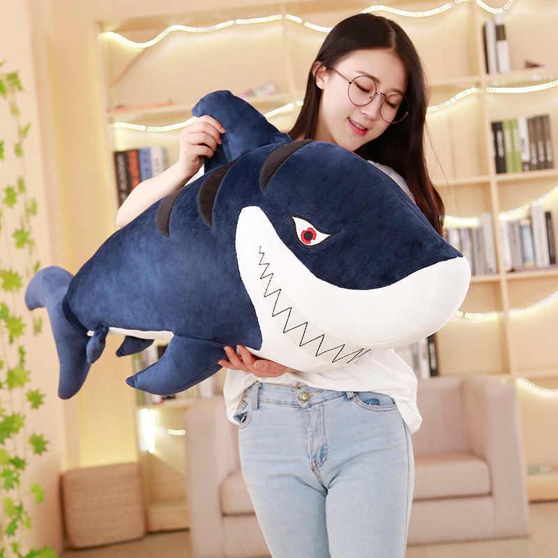 Neue 1pc simulation 55-120cm Riesige Lustige Beißen Shark Plüsch Spielzeug Weiche Beschwichtigen Kissen Geschenk Für Kinder baby Geschenk Tier Puppe Kissen