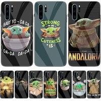 Baby Yoda-Funda de vidrio templado para teléfono, mandaloriano, para Huawei P10, P20, P30 Lite Pro, P Smart, 2018, 2019