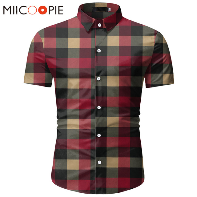 Red Plaid Shirt Men 2020 Summer Brand Classic Short Sleeve Dress Shirt Casual Button Down Office Workwear Chemise Homme M-3XL 1