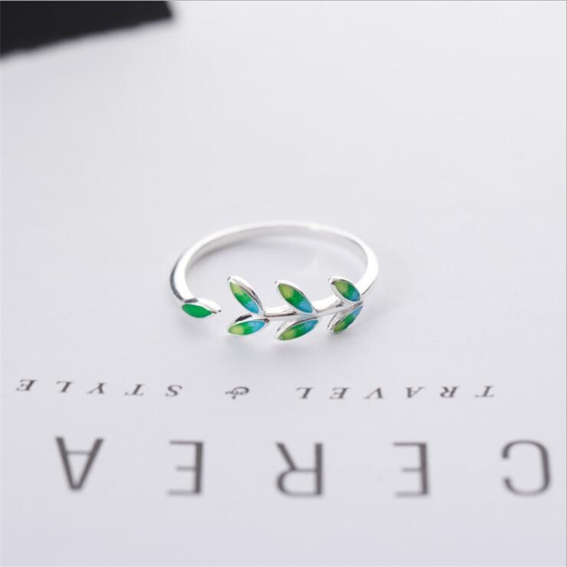 New Arrival Exquisite Green Leaf Epoxy Fashion 925 Sterling Silver Jewelry Atmosphere Creative Leaves Opening Rings SR596
