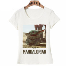 Girl Kawaii The Mandalorian Child Baby Yoda T Shirt Unique Women Short Sleeve Star Wars Streetwear Movie Tops Hip Hop Women Tee(China)