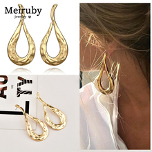 New Trendy statement Gold Earring 2019 Water Geometric Fashion Aluminium Alloy color Drop Earrings for Women Jewelry