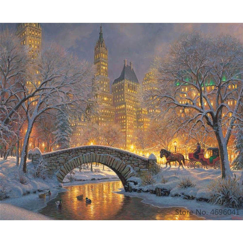 Painting By Numbers Frameworks Coloring By Numbers Home Decor Pictures Landscape Castle Decorations RSB8312