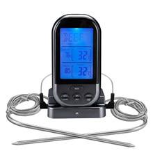 Sem fio termômetro de carne para grelhar com sonda dupla comida cozinhar termômetro 66ft digital lcd retroiluminado display churrasco termômetro