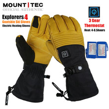 MOUNTITEC Explorers 4 ถุงมืออุ่นไฟฟ้า Li แบตเตอรี่ความร้อนด้วยตนเอง Touch Screen Goatskin ถุงมือสกีกันน้ำ Guantes