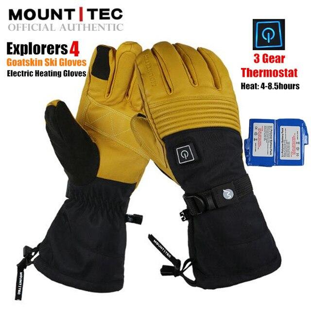 Mountitec 探検 4 電気加熱された手袋リチウム電池自己発熱タッチスクリーンゴートスキンスキー手袋防水乗馬 guantes