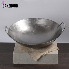 CAKEHOUD High Quality Double-Ear Cast Iron Wok Vintage Hand Thickened Chinese Style Kitchen Cookware Uncoated Non-Stick Wok