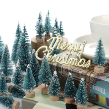 55 Pcs Artificial Frosted Sisal Christmas Tree Wood Base DIY Crafts Mini Pine Ornaments Decorations For Home S20