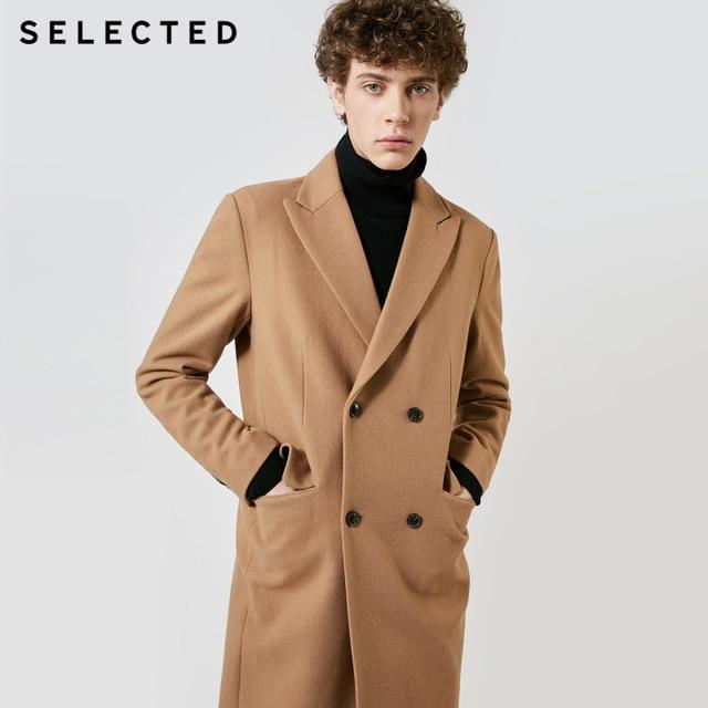 SELECTED Autumn & Winter New Mens Wool Coat Vintage Business Long Woolen Outwear Jacket Coat T
