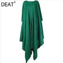 DEAT 2020 moda nowy wzór wysokiej jakości pełna rękaw tył Vintage łuk luźny nieregularny brzeg elegancki Retro, pofałdowane sukienka AY075