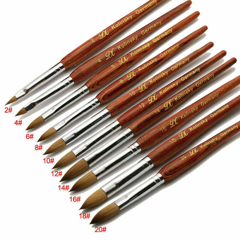 Kolinsky Sable RED WOOD Acrylic Nail Brush Nail Art Set Size 2#+4#+6#+8#+10# 12 14 16 18 20 Set Wholesale High Quality Brush