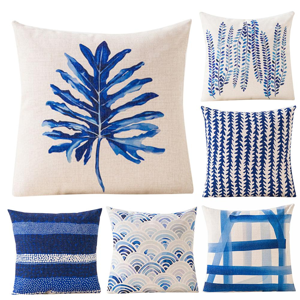 Blue Geometric Design Throw Neck Printed Throw Pilow Cushion Case  Embroidered In Cushion Cover Sofa Bed Car Cafe Home Decor