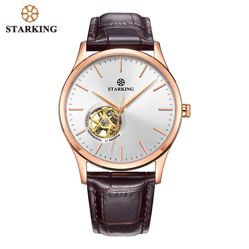 STARKING Mechanical Watch Men Automatic Self-wind Movt Skeleton Gold Stainless Steel Male Wristwatch Sapphire Men Watch 5ATM