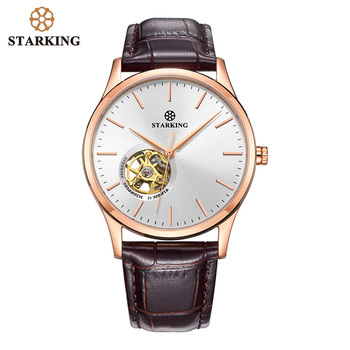 цена на STARKING Mechanical Watch Men Automatic Self-wind Movt Skeleton Gold Stainless Steel Male Wristwatch Sapphire Men Watch 5ATM