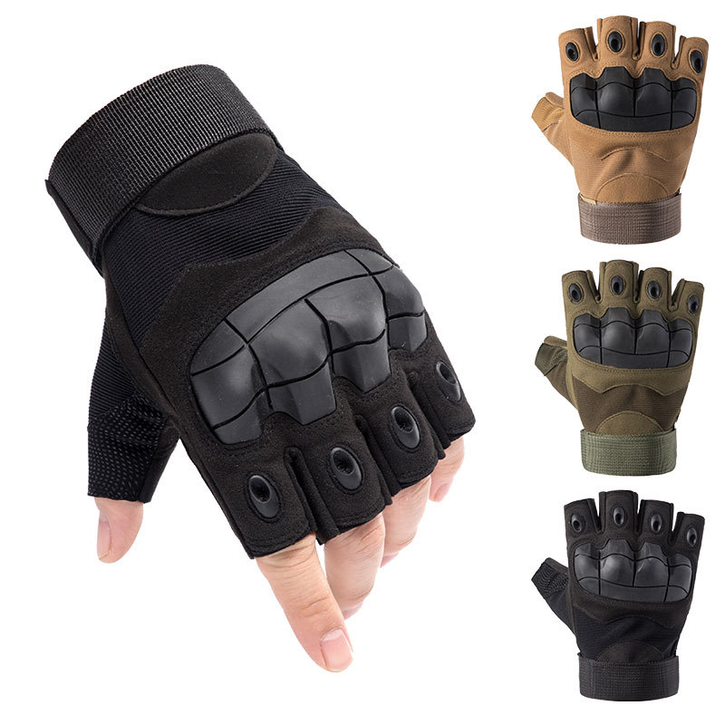 Outdoor Army Military Tactical Motorcycle Hunt Hard Knuckle Half-Finger Gloves