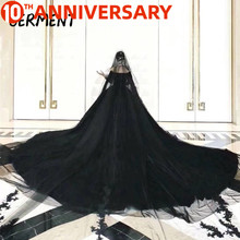 OllyMurs Vintage 2020 Gothic Black Wedding Dresses New Ball Gown Sweetheart Applique Lace Bridal Dress