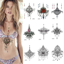 1 PIECE Under Boob Sternum Temporary Tattoo with Unalone, Spiritual Symbols,Loutus Pattern Body Art Sexy Waist Tattoo For Girl the therapeutic encounter with spiritual symbols